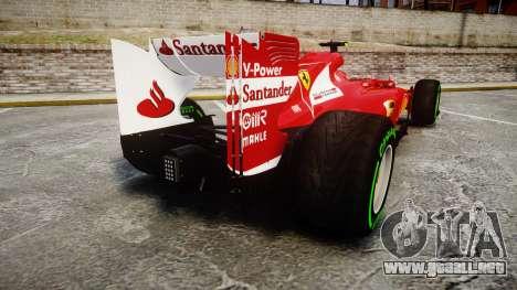 Ferrari F138 v2.0 [RIV] Massa TIW para GTA 4 Vista posterior izquierda