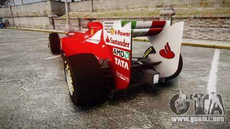 Ferrari 150 Italia Alonso para GTA 4 Vista posterior izquierda