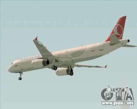Airbus A321-200 Turkish Airlines para la vista superior GTA San Andreas