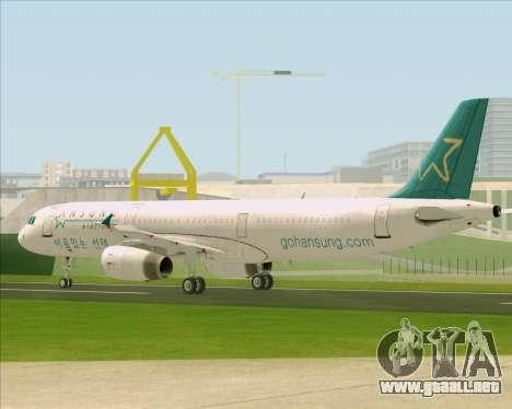 Airbus A321-200 Hansung Airlines para vista lateral GTA San Andreas