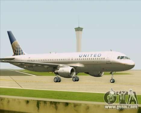 Airbus A320-232 United Airlines para GTA San Andreas vista posterior izquierda