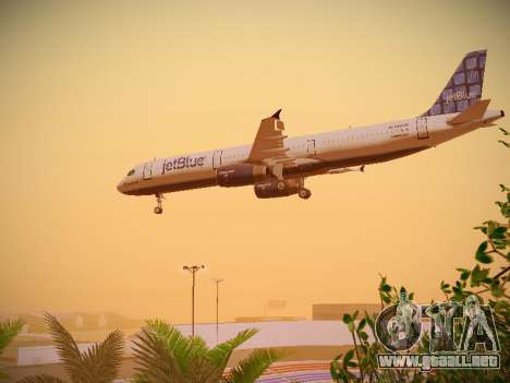 Airbus A321-232 jetBlue Blue Kid in the Town para vista lateral GTA San Andreas