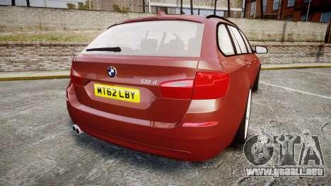BMW 530d F11 para GTA 4 Vista posterior izquierda
