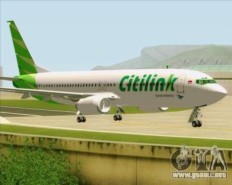Boeing 737-800 Citilink para GTA San Andreas vista posterior izquierda