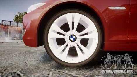 BMW 530d F11 para GTA 4 vista hacia atrás