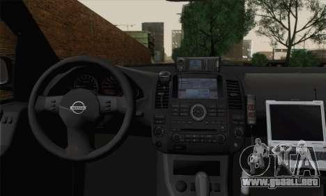 Nissan Pathfinder Policija para GTA San Andreas vista posterior izquierda