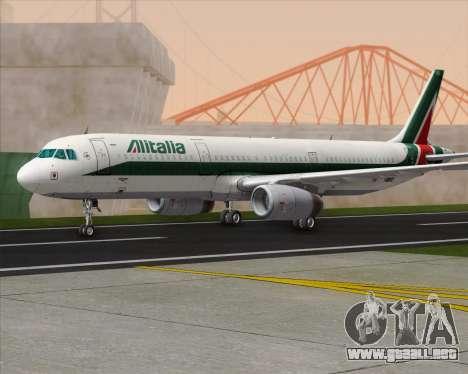 Airbus A321-200 Alitalia para GTA San Andreas vista posterior izquierda