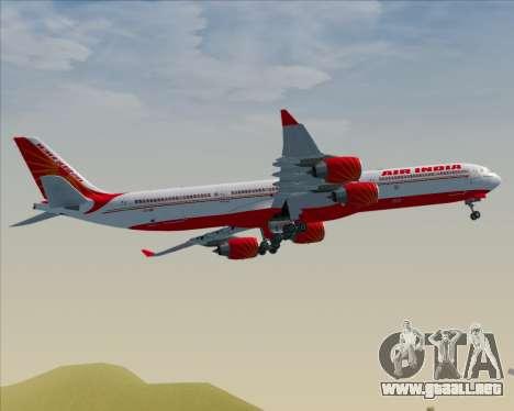 Airbus A340-600 Air India para GTA San Andreas vista hacia atrás