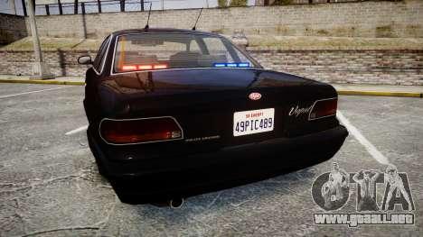 GTA V Vapid Stanier FIB [ELS] para GTA 4 Vista posterior izquierda