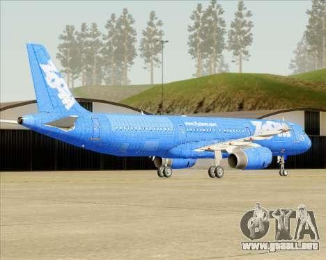 Airbus A321-200 Zoom Airlines para GTA San Andreas vista posterior izquierda