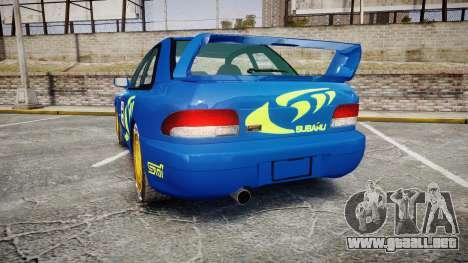 Subaru Impreza WRC 1998 Rally v2.0 Green para GTA 4 Vista posterior izquierda