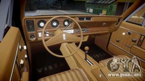 Oldsmobile Vista Cruiser 1972 Rims1 Tree4 para GTA 4 vista hacia atrás