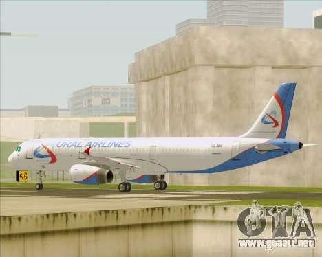 Airbus A321-200 Ural Airlines para GTA San Andreas vista posterior izquierda