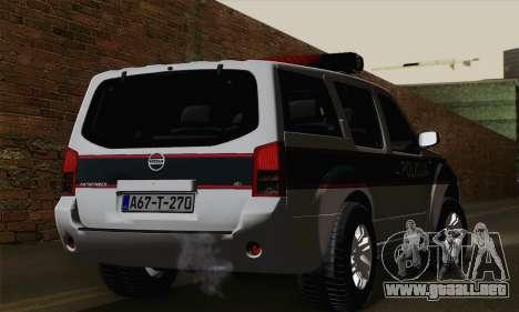 Nissan Pathfinder Policija para GTA San Andreas left