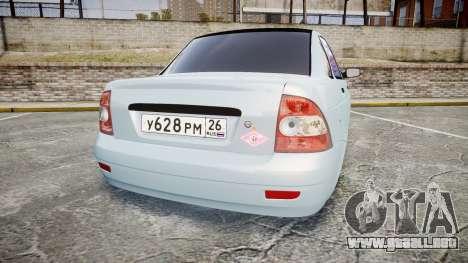ВАЗ-2170 Instalado Antes para GTA 4 Vista posterior izquierda