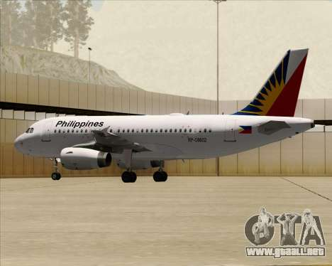 Airbus A319-112 Philippine Airlines para vista lateral GTA San Andreas