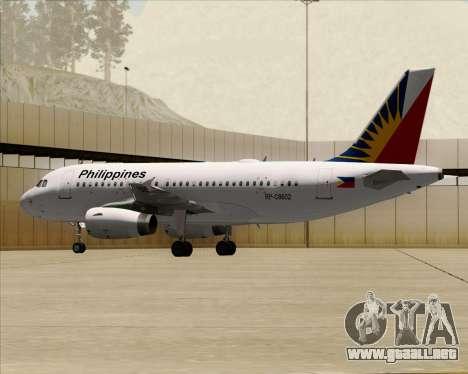 Airbus A319-112 Philippine Airlines para vista lateral GTA San Andreas