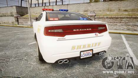 GTA V Bravado Buffalo LS Sheriff White [ELS] para GTA 4 Vista posterior izquierda