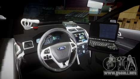 Ford Explorer 2013 Sheriff [ELS] Virginia para GTA 4 vista hacia atrás