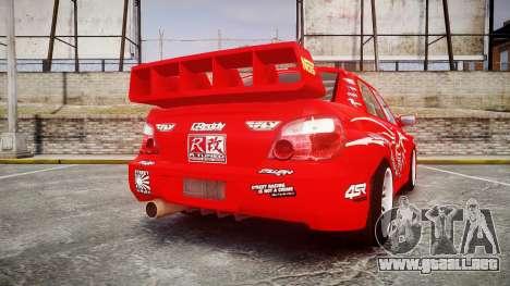 Subaru Impreza WRX STI Street Racer para GTA 4 Vista posterior izquierda