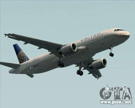 Airbus A320-232 United Airlines para visión interna GTA San Andreas