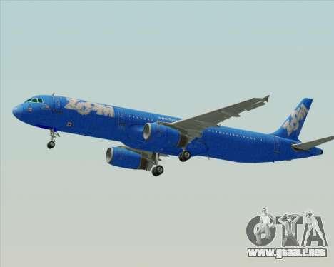 Airbus A321-200 Zoom Airlines para GTA San Andreas vista hacia atrás