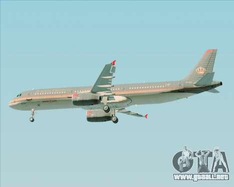 Airbus A321-200 Royal Jordanian Airlines para las ruedas de GTA San Andreas