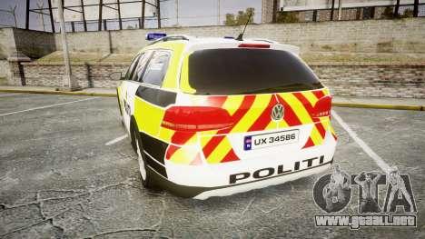 Volkswagen Passat 2014 Marked Norwegian Police para GTA 4 Vista posterior izquierda