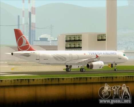 Airbus A321-200 Turkish Airlines para GTA San Andreas vista posterior izquierda