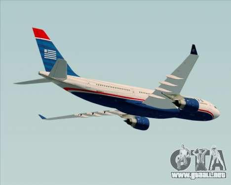 Airbus A330-200 US Airways para vista lateral GTA San Andreas