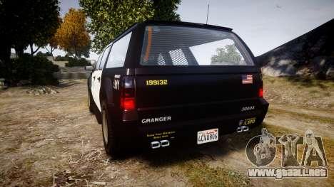 GTA V Declasse Granger LSP [ELS] Slicktop para GTA 4 Vista posterior izquierda