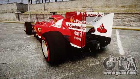 Ferrari F138 v2.0 [RIV] Alonso TSSD para GTA 4 Vista posterior izquierda