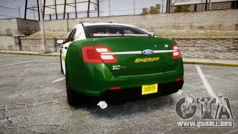 Ford Taurus 2014 Liberty City Sheriff [ELS] para GTA 4 Vista posterior izquierda