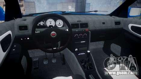 Subaru Impreza WRC 1998 SA Competio v3.0 para GTA 4 vista hacia atrás