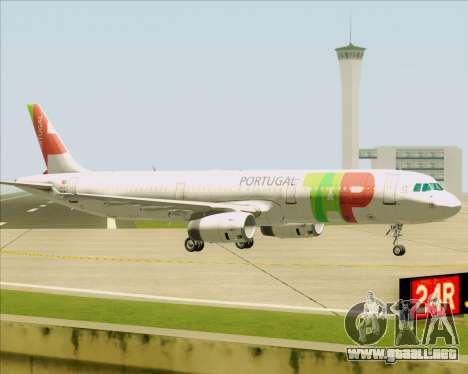 Airbus A321-200 TAP Portugal para GTA San Andreas vista posterior izquierda