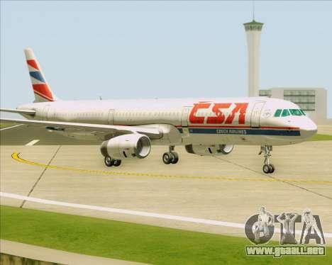 Airbus A321-200 CSA Czech Airlines para GTA San Andreas vista posterior izquierda