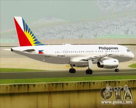 Airbus A319-112 Philippine Airlines para la visión correcta GTA San Andreas