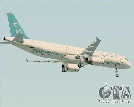 Airbus A321-200 Hansung Airlines para la vista superior GTA San Andreas