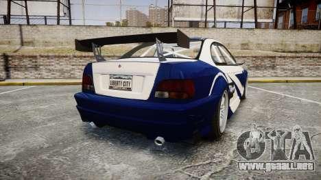 Ubermacht Sentinel GTR Most Wanted style para GTA 4 Vista posterior izquierda