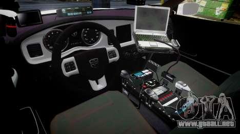 Dodge Charger RT 2013 LC Sheriff [ELS] para GTA 4 vista hacia atrás