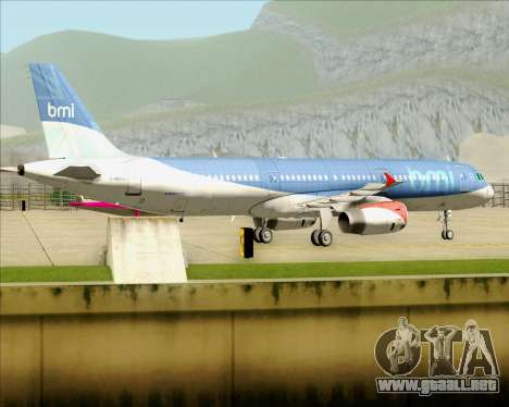 Airbus A321-200 British Midland International para GTA San Andreas vista hacia atrás