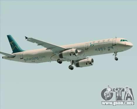 Airbus A321-200 Hansung Airlines para GTA San Andreas vista hacia atrás