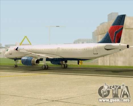 Airbus A321-200 Delta Air Lines para GTA San Andreas vista posterior izquierda