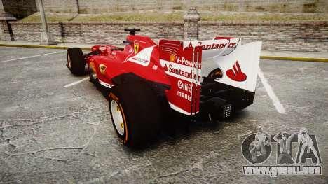Ferrari F138 v2.0 [RIV] Alonso THD para GTA 4 Vista posterior izquierda