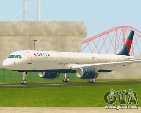 Airbus A321-200 Delta Air Lines para visión interna GTA San Andreas