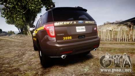 Ford Explorer 2013 Sheriff [ELS] Virginia para GTA 4 Vista posterior izquierda