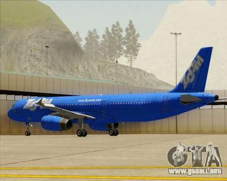 Airbus A321-200 Zoom Airlines para la vista superior GTA San Andreas