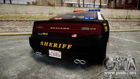 GTA V Bravado Buffalo LS Sheriff Black [ELS] para GTA 4 Vista posterior izquierda