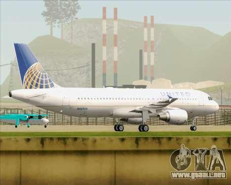 Airbus A320-232 United Airlines para GTA San Andreas vista hacia atrás