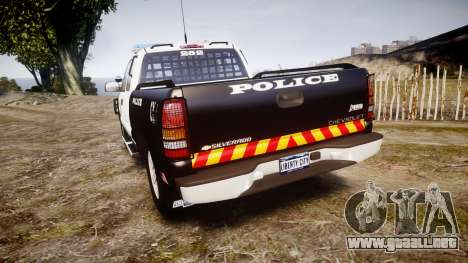 Chevrolet Silverado SWAT [ELS] para GTA 4 Vista posterior izquierda